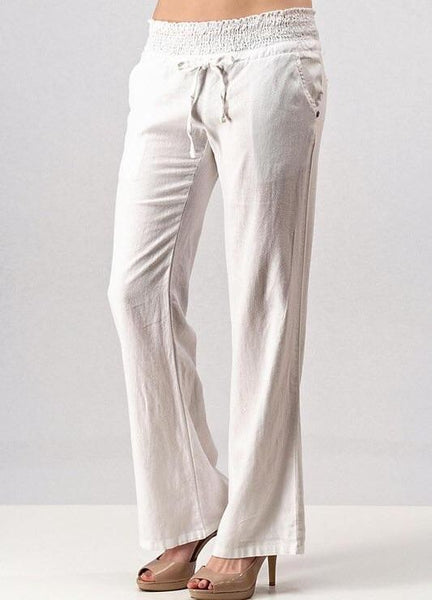 Linen Pants with Elastic Waist in White