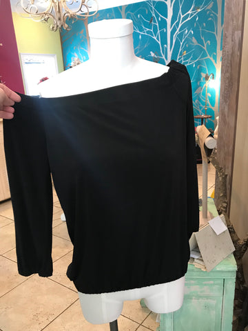 Black ITY Off The Shoulder Elastic Hem Long Sleeve Blouse by Veronica M.