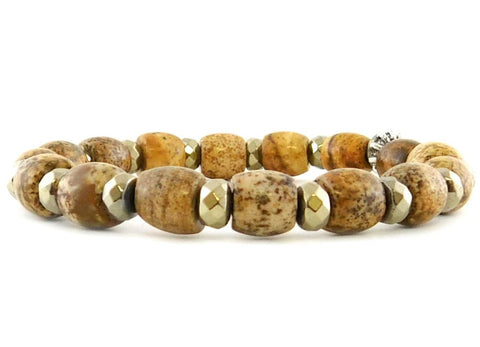 Betsy Pittard Jasper Barrel Beaded Bracelet