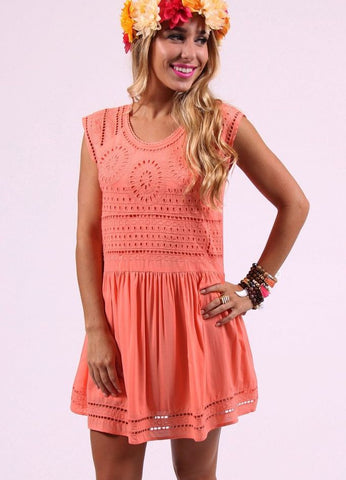 Tyra Peach Eyelet Dress