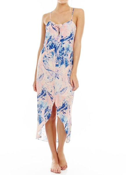 Bow Front Marble Midi Dress