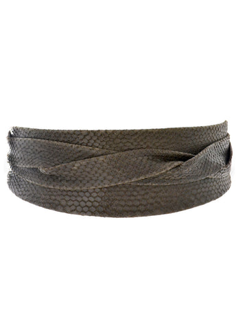 'ADA' Signature One-Size Versatile Leather Wrap Belt in Chocolate Python