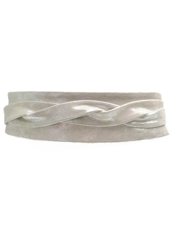 'ADA' Signature One-Size Versatile Leather Wrap Belt in Silver