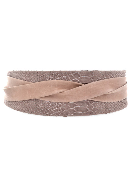 'ADA' Signature One-Size Versatile Leather Wrap Belt in Taupe Croco