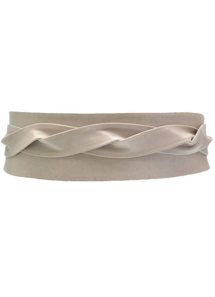'ADA' Signature One-Size Versatile Leather Wrap Belt in Taupe