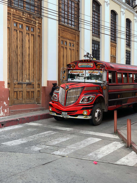 Chicken Bus on a street in Guatemala
