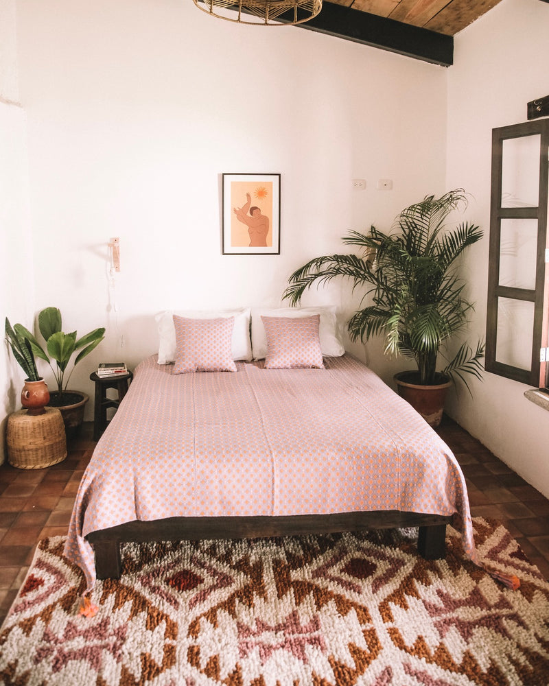 Story of Source Aztec Rug Styled in a Bedroom