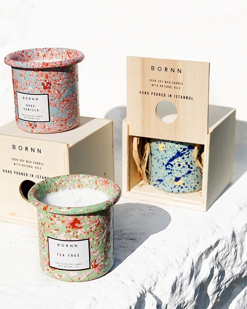 BORNN candles in splatter jars