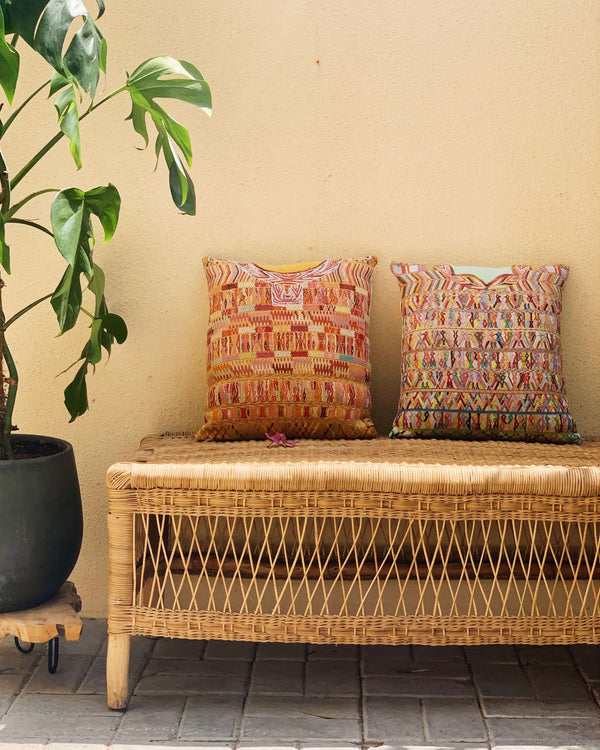 Story of Source Mint & Mustard Cotzal Square Cushions