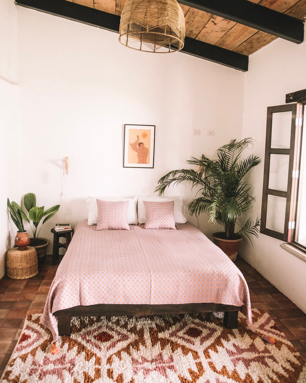 Story of Source Toto Bed Blanket and Aztec Rug Styled
