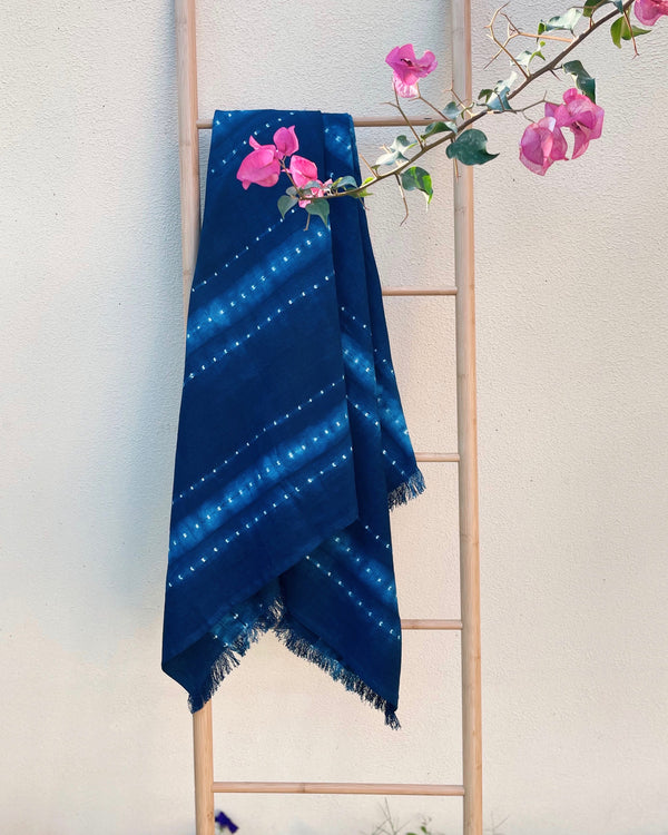 Story of Source Tensira Indigo Tie & Dye cotton throw