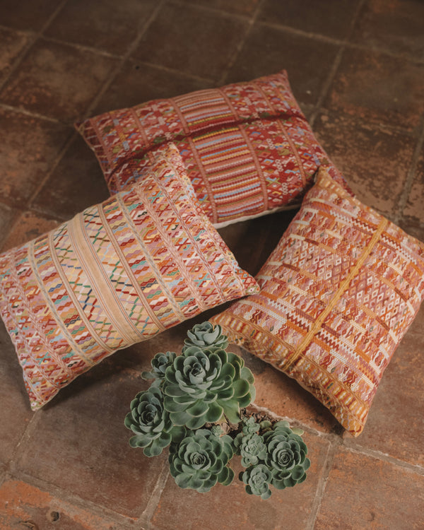 Story of Source Cotzal Cushion Set consisting of Maroon, Peach and Mustard Cotzal