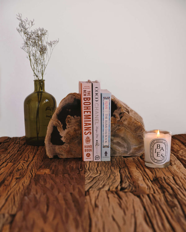 Story of Source Petrified Wood Bookends - Black & Grey