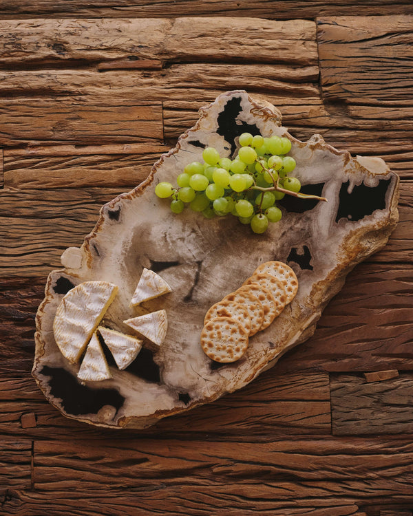 Story of Source Medium Petrified Wood Platter - Black & Grey