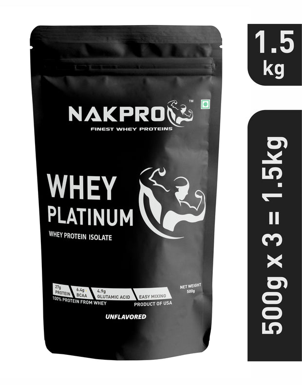 NAKPRO Platinum Whey Protein Isolate 90% , Raw, Pure, Unflavored, Whey Protein Supplement Powder from USA -
