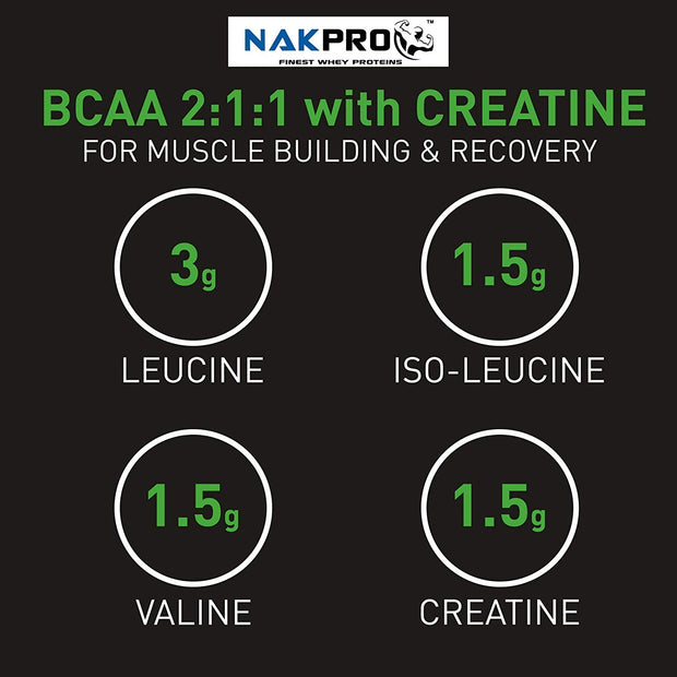 NAKPRO BCAA Supplement 2:1:1, 6g of BCAA Amino Acids with Creatine, Post Workout Recovery Drink for Muscle Recovery and Lean Muscle Building for Men & Women | Tangy Orange - (20 Servings)