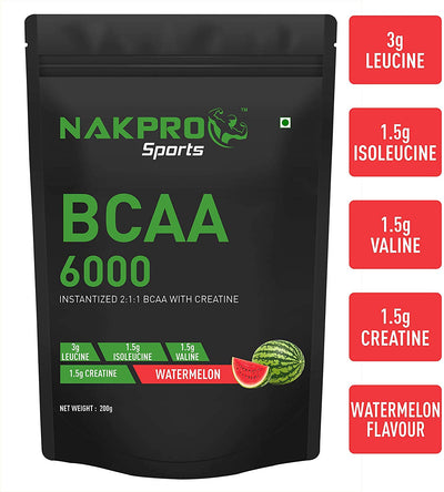 NAKPRO BCAA Supplement 2:1:1, 6g of BCAA Amino Acids with Creatine, Post Workout Recovery Drink for Muscle Recovery and Lean Muscle Building for Men & Women | Watermelon - (20 Servings)