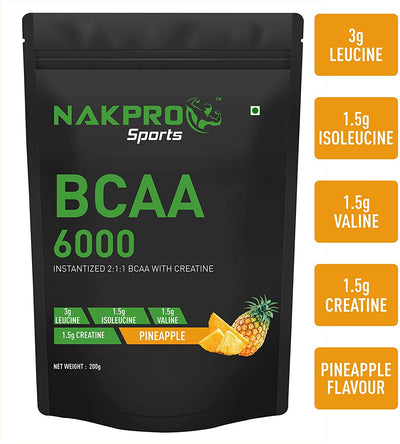 NAKPRO BCAA Supplement 2:1:1, 6g of BCAA Amino Acids with Creatine, Post Workout Recovery Drink for Muscle Recovery and Lean Muscle Building for Men & Women | Pineapple - (20 Servings)