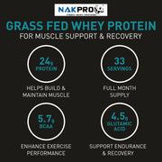 NAKPRO Grass Fed Whey Protein Concentrate 80%, Raw Whey Protein 1kg Supplement Powder, UK made - Unflavoured
