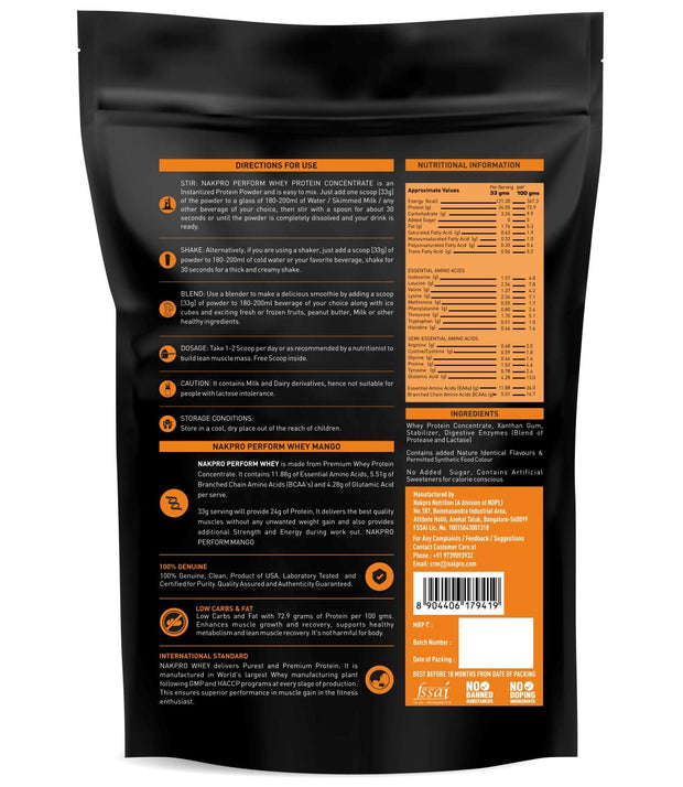 NAKPRO Perform Whey Protein Concentrate - Mango