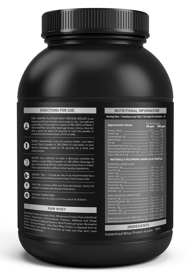 NAKPRO Whey Platinum Whey Protein Isolate -Unflavored