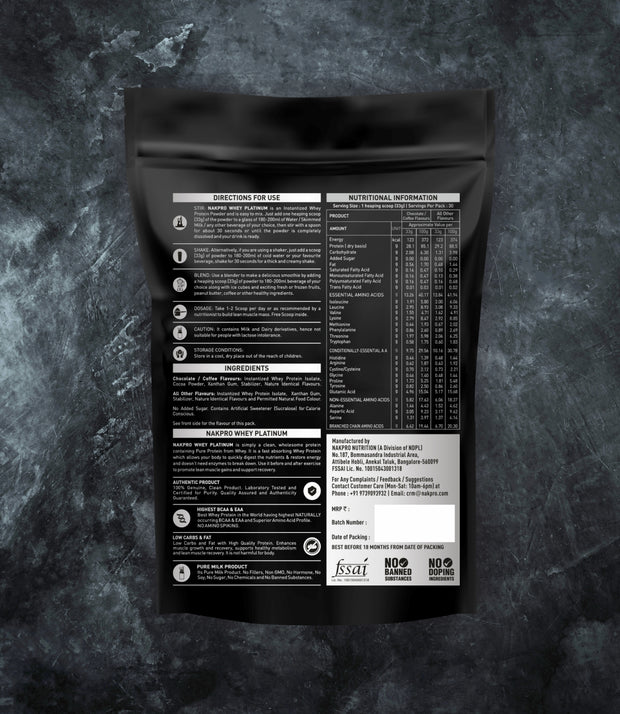 NAKPRO Nutrition whey protein isolate additional information