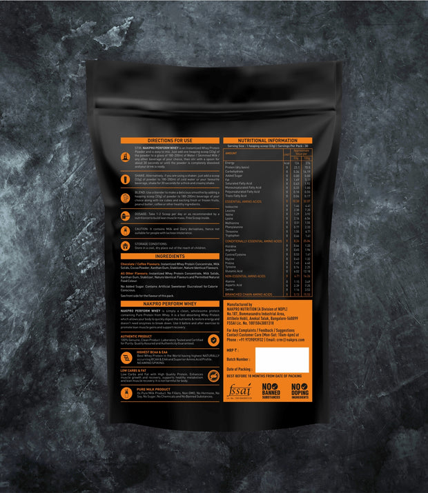 NAKPRO Nutrition Perform whey protein powder 5 Kg additional information.