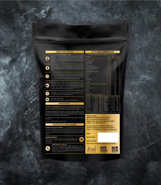 NAKPRO Nutrition Gold Mass Gainer Nutrition Details