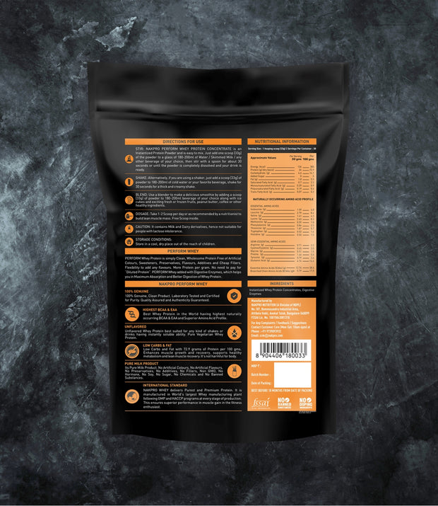 NAKPRO Nutrition Perform whey protein powder additional information