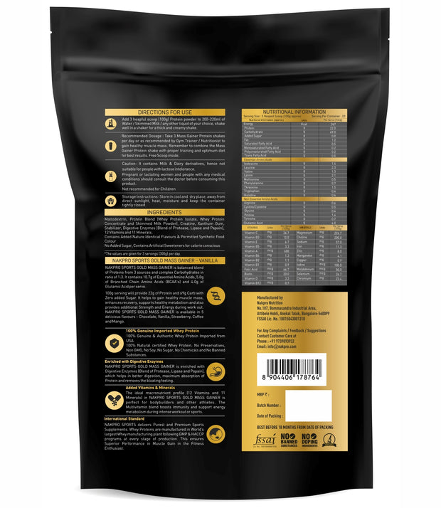Nakpro Sports Gold Mass Gainer  - Vanilla