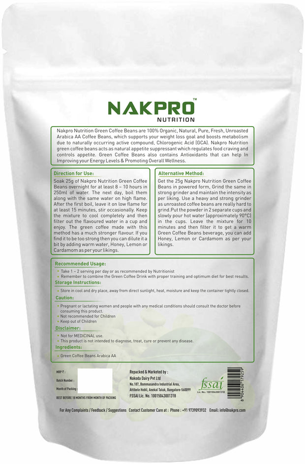 X - Nakpro Nutrition Green Coffee Beans for Weight Loss, Premium Arabica Grade AA