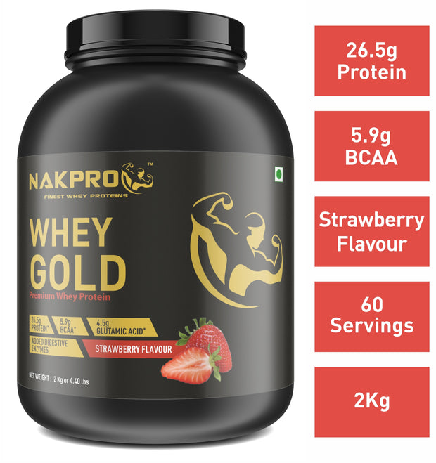 Nakpro Gold 100% Whey Protein with Digestive Enzymes, Whey Protein Supplement Powder from USA - Strawberry