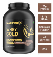 Nakpro Gold 100% Whey Protein with Digestive Enzymes, Whey Protein Supplement Powder from USA - Chocolate