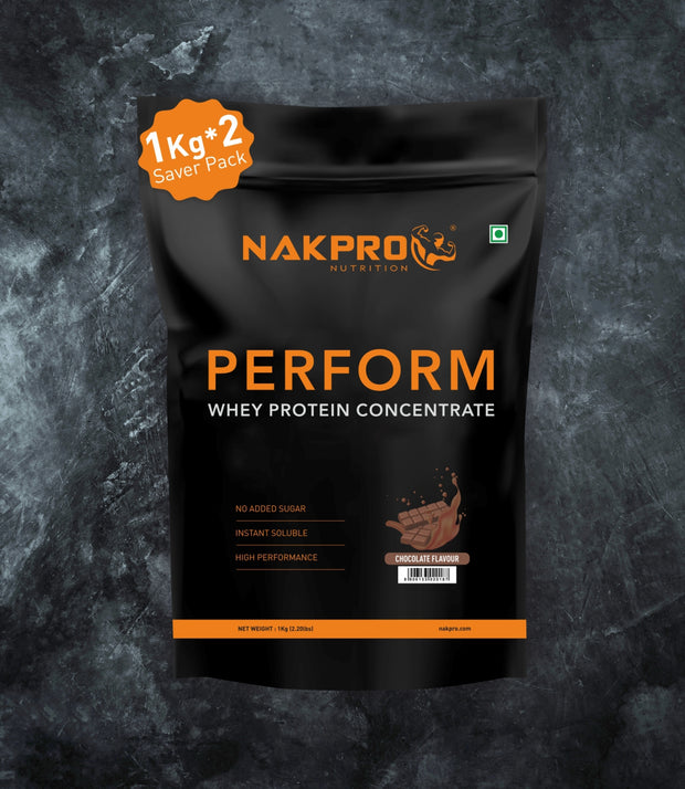 NAKPRO Nutrition Chocolate flavored Perform whey protein powder 2 kg pack