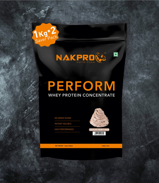 NAKPRO Nutrition Cream chocolate flavored Perform whey protein powder 2 kg pack
