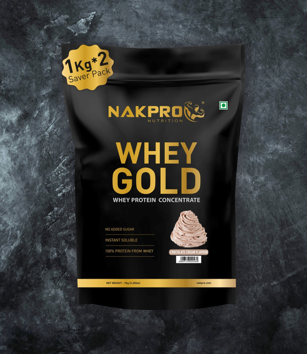 NAKPRO Nutrition whey gold concentrate whey protein powder 2 Kg cream chocolate
