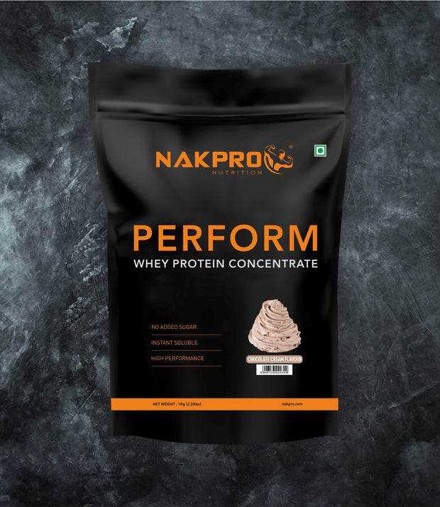 NAKPRO Nutrition Cream chocolate flavored Perform whey protein powder in 1 kg pack