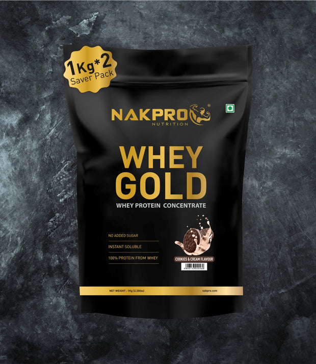 NAKPRO Nutrition whey gold concentrate whey protein powder 2 Kg cookies & cream