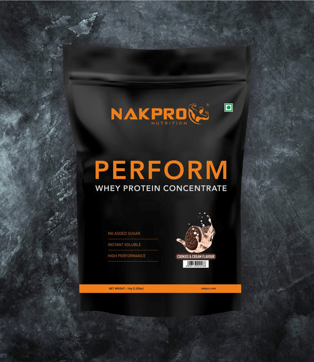 NAKPRO Nutrition Perform whey protein powder 1 Kg cookies & cream flavor