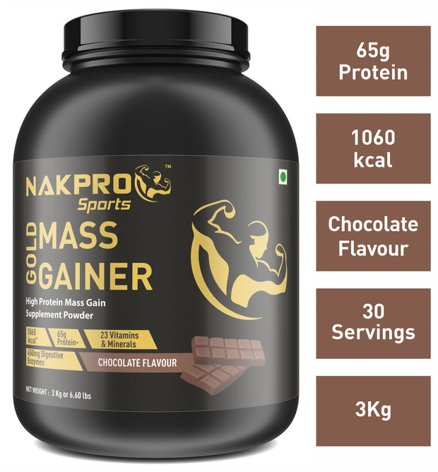 Nakpro Sports Gold Mass Gainer Protein Powder Supplement with Digestive Enzymes and Vitamin & Minerals - Chocolate