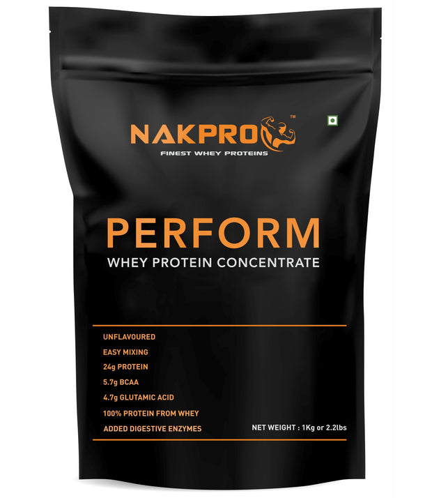 NAKPRO Perform Whey Protein Concentrate with Added Digestive Enzymes, Raw Whey Protein 1kg Supplement Powder - Unflavoured