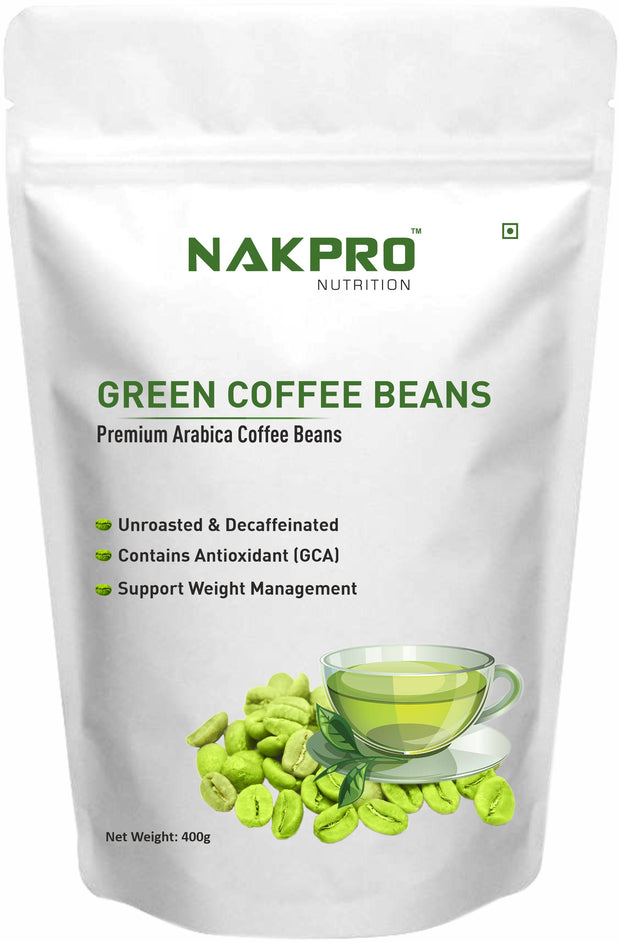 Nakpro Nutrition Green Coffee Beans for Weight Loss, Premium Arabica Grade AA - 400g