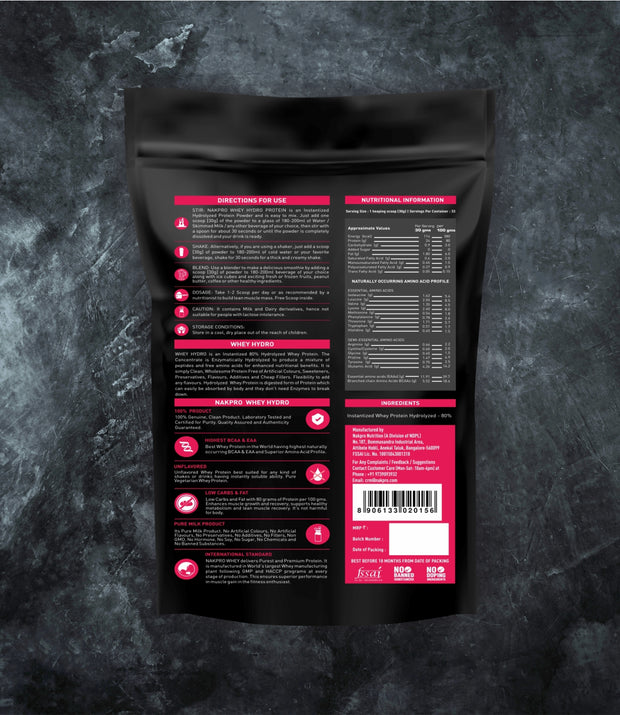 NAKPRO WHEY HYDRO UNFLAVORED 1KG