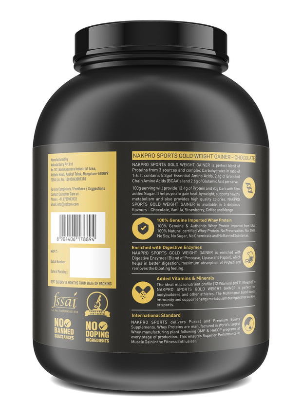 Nakpro Sports Gold Weight Gainer Protein Powder Supplement with Digestive Enzymes and Vitamin & Minerals - Chocolate