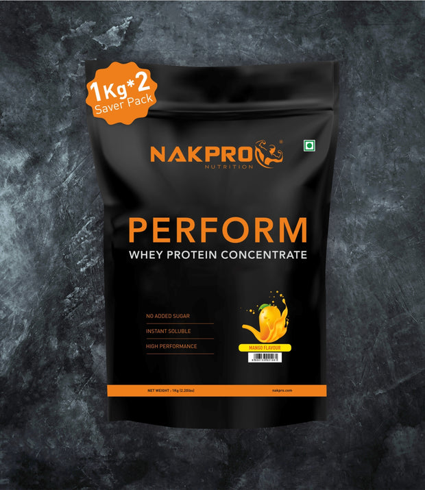NAKPRO Nutrition Mango flavored Perform whey protein powder 2 kg pack