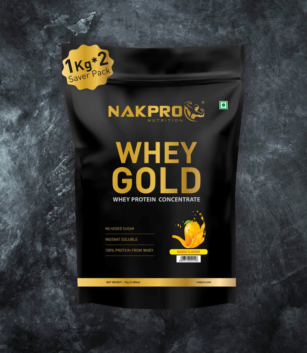 NAKPRO Nutrition whey gold concentrate whey protein powder 2 Kg mango