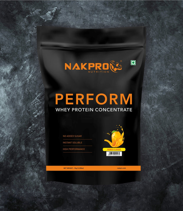 NAKPRO Nutrition mango flavored perform whey protein powder in 1 kg pack
