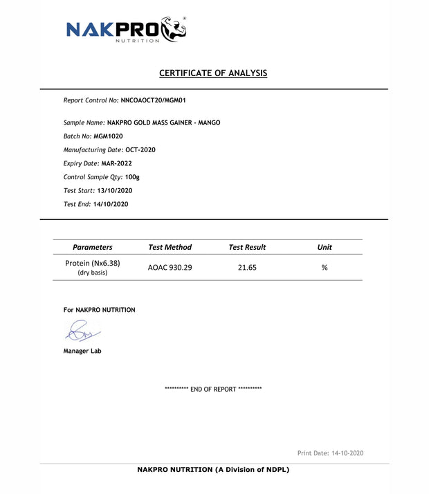 NAKPRO Nutrition Gold Mass Gainer Mango lab report