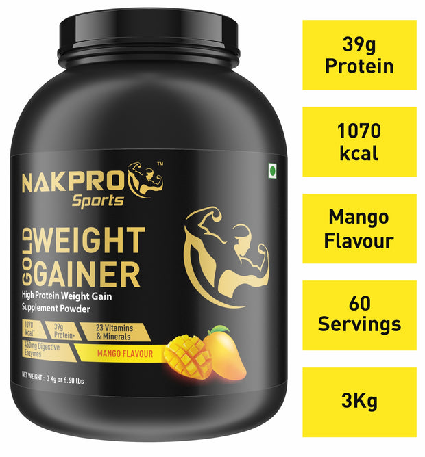 Nakpro Sports Gold Weight Gainer  - Mango