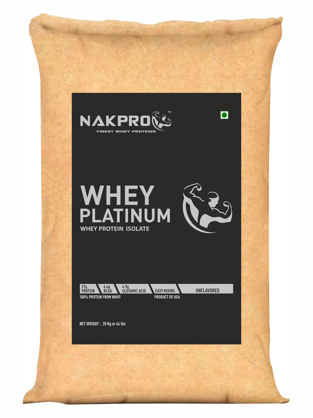 Nakpro Platinum Whey Protein Isolate 90% (27gm Protein per serving), Raw Whey Protein Supplement Powder from USA - Unflavoured (5kg - 166 Servings)